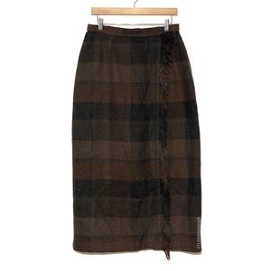 Vintage Plaid Fringed Maxi Skirt